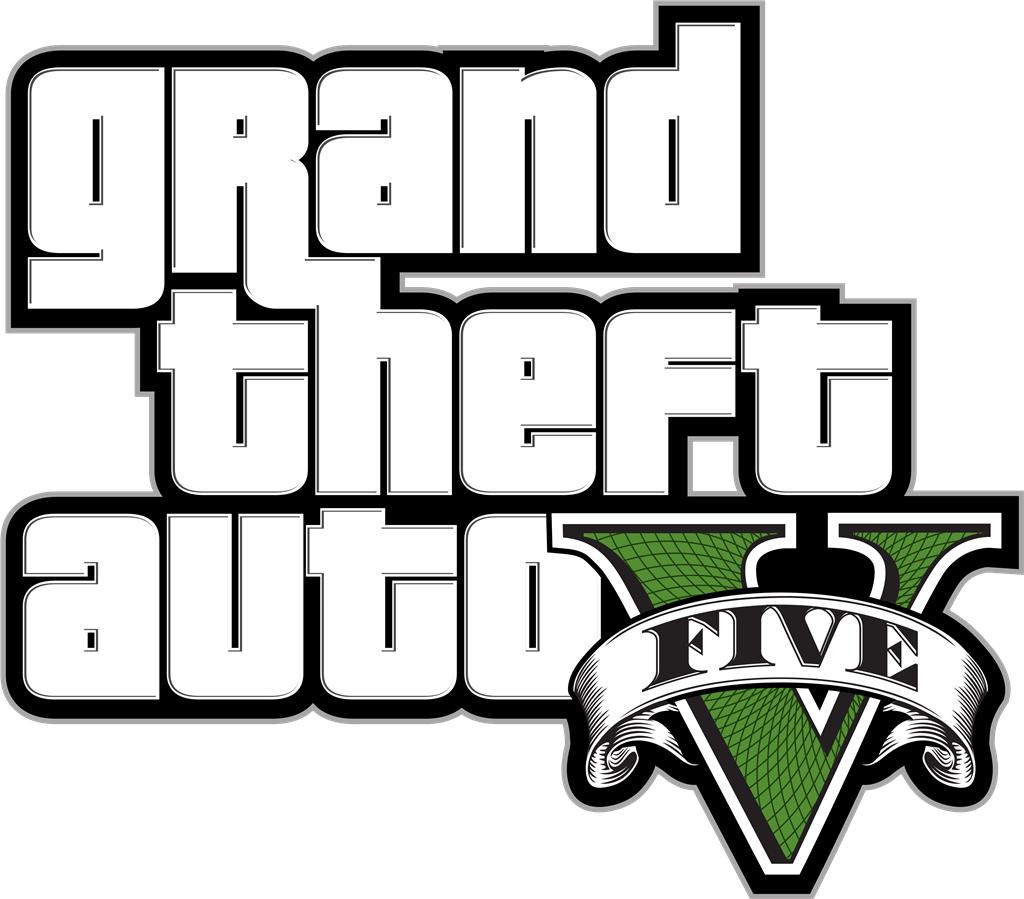Grand Theft Auto V logotype, transparent .png, medium, large
