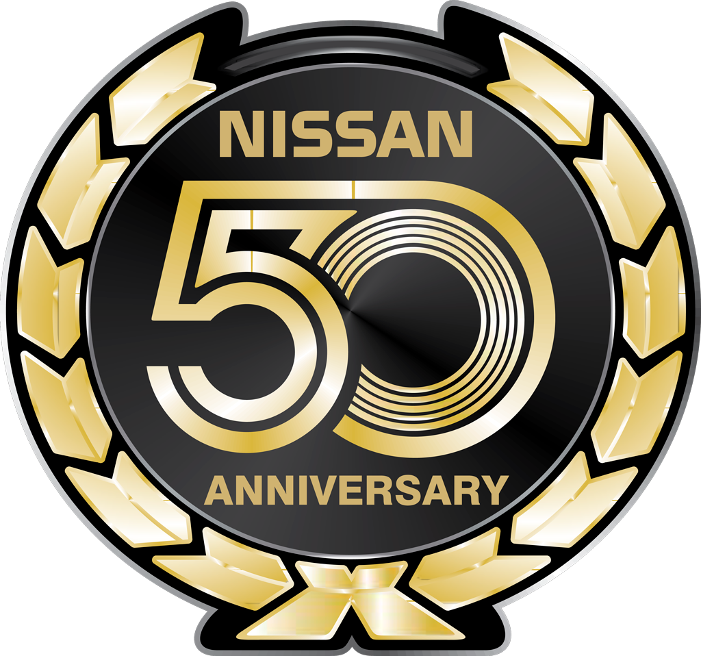 Nissan 50 Anniversary logotype, transparent .png, medium, large